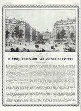 ANC. PAPIER  LE CENTENAIRE DE L'AVENUE DE L'OPERA  PARIS  1929