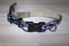 Seattle Seahawks NFL Team Logo Small Dog Collar Snap Close 10-14""