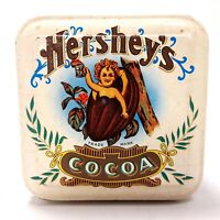 Vintage 1982 Hersheys Cocoa Collectible Tin Small, Square Cream & Brown England