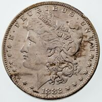 1882-O/S Strong Silver Morgan Dollar in AU Condition, Easy to See, Mainly White