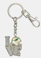 Miami Dolphins NFL Metal Glitter LOVE Key Ring FREE SHIP!!