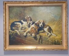 Oil on Board Hunting Hound Dogs in a Stable Setting Fine Quality Painting