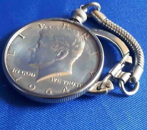 Kennedy JFK Half Dollar Coin Pendant  Keychain VTG Sterling Silver 1964