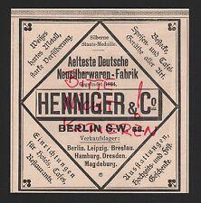 Berlino, Pubblicità 1898, Henninger & Co. argentata erano-Fabbrica