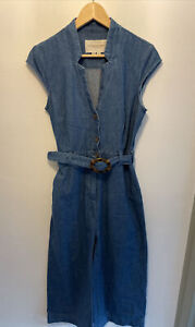 Pilcro And The Letterpress By Anthropologie Denim Wide Leg Jumpsuit UK Size 10