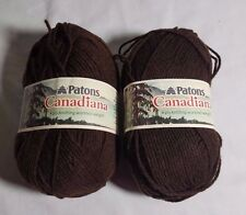 LOT OF 2 SKEINS PATONS CANADIANA WORSTED BROWN YARN SKEIN 100 GMS 3.5 OZ ACRYLIC