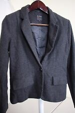 Paper Doll Polyester & Wool Blend Gray Herringbone 1 Button Lined Jacket Size-L