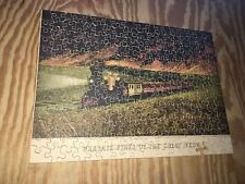 C1940 Straus Wooden Jigsaw Puzzle 225pc Currier + Ives RR Train Prairie Fires