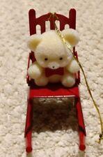 Vintage Avon Christmas Teddy Bear Ornament Collection Teddy on a Rocker Chair