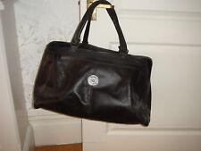 Vintage Csango Original Black Leather Weekend Bag Holdall Tote Travel Luggage