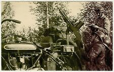 Motorcycle, Anti Air Machine Gun on an Old Military Motorcycle, Old Postcard