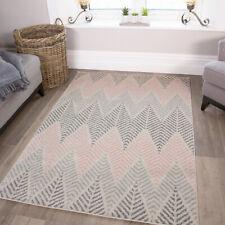 Modern Zigzag Geometric Pale Pink Blush Grey Blue Living Dining Room Rug