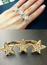 R159 Betsey Johnson Rhinestone Make Wish Shooting Star Two Fingers Dual Ring US