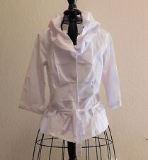 713  Sofina White 3/4 Sleeve Blouse with Tie Belt M