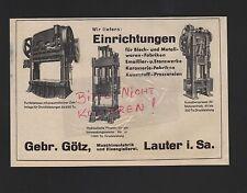 LAUTER, Werbung 1938, Gebrüder Götz Maschinenfabrik Eisengießerei