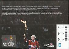 2012 Jean Beliveau Montreal Canadiens Home Opener vs Ottawa Senators ticket stub