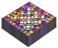 Set of 6 Red Multi Colour Finish Mosaic Glass Coasters