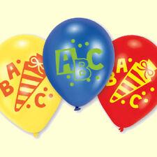 Ballons 6 Luftballons Schulanfang Einschulung Buchstabe Schultütte blau rot gelb