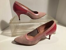 Vtg 1950s Fiancées Size 7.5 Ladies 3 Tone High Heel Pumps Shoes Suede Leather