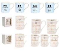 Happy Birthday Fine China Mug Diamante Heart Age Milestone Present Gift Boxed