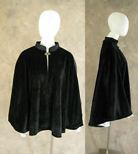 Victorian Black Velvet Lined Half Cape Cloak Capelet Steampunk Dickens Cosplay