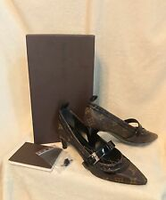 New LOUIS VUITTON LV Monogram Brown STAR POWER Low Heel Pumps Shoes 37, 7