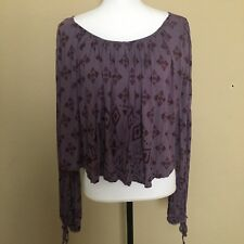 Free People Women's Purple Oversized Drape Long Sleeve Printed Top Size M