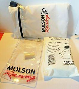 90's Molson Racing Distributors Zipper Pouch Poncho Ear Plug Plastic Pass Holder