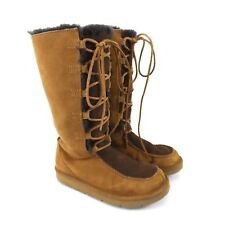 UGG Brown Suede Sheepskin Mukluks Winter Tall Lace-Up Boots Size 5