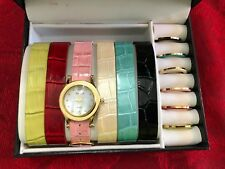 Gruen women  wrist watch box set 6 interchangeable bands and face ring