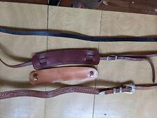 Lot of (3) True Vintage leather guitar Straps 1950s-60s Gretsch Fender + parts