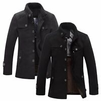 Mens Wool Military Coat Jacket Funnel Neck Black Grey UK Size S M L XL