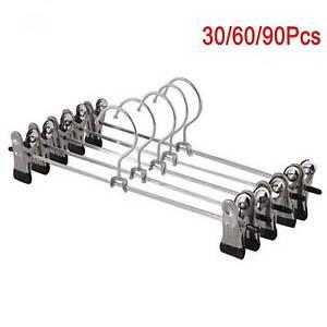 30/60/90Pcs Metal Clip Coat Hangers Clothes Pant Trousers Skirt Non-slip Rack UK