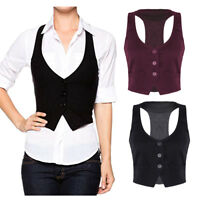 Women Suit Vest Work Dress Waistcoat Slim Fit Outerwear Casual Lined Button Vest