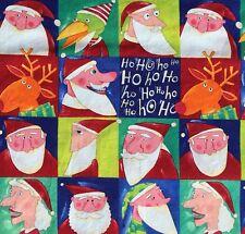 Nancy Wolff Santa Christmas Fabric Bright Funny Portrait Squares Elves 2 Yards
