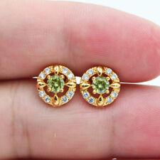 18K Yellow Gold Filled Lady Girls Green Topaz Zircon Small Stud Earrings