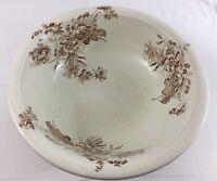 "British Anchor Pottery Earthenware Floral Basin Pottery Wash Bowl Vintage 15.5"""
