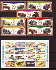 GUINEE EQUATORIAL bloc et timbres : Voitures et avions début 1900 H239