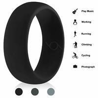 Men Women Silicone Wedding Engagement Ring Rubber Band Gym Sport Flexible