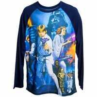 "Star Wars Original Movie Poster ""A New Hope"" Graphic Baseball Tee Shirt LG NWT!"