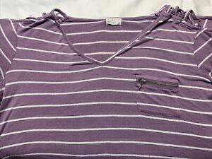 Glitz  Apparel 2X Blouse Top Lavendar Striped Short Sleeve Open Shoulder 126