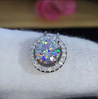 14Kt White Gold Over 2Ct Round VVS1/D Diamond Halo Pendant Necklace Free Chain