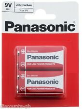 x2 Panasonic 9V Zinc Carbon Batteries - PP3 (MN1604 / 6F22 / 6LR61) - Pack of 2