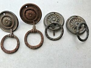 4 brass  antique draw handles drops 2 separate pairs need polishing     21