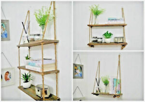 Rustic Scaffold Board Tiered Style Hanging Rope Shelf Unique Wooden Display Unit