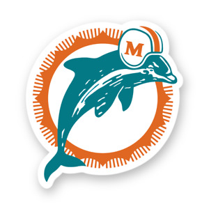 Miami Dolphins Retro Vintage Logo Decal Die Cut Vinyl Football Team Car Truck