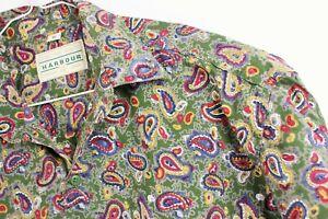 """Vintage Mens Paisley Crazy Print Mod KHAKI Button Down Shirt pit2pit 23"""" Med"""