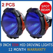 "2 PCS 9"" 55W HID XENON DRIVING LIGHTS SPOTLIGHTS POWERFUL SPOT BEAM BLUE COVER"