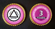 """Alcoholics Anonymous 3 Year Rope Edge Sobriety Coin Chip 1 3/4"""" - Pink"""