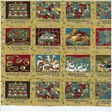 12 días de los paneles de vacaciones de Navidad 100% algodón Acolchado tela Nutex paneles de 78